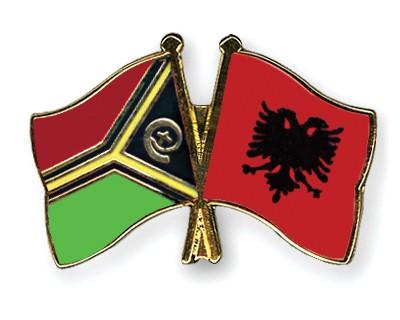Crossed Flag Pins Vanuatu-Albania
