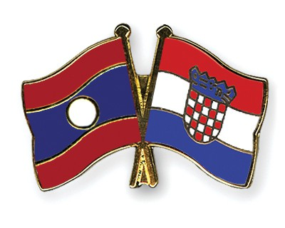 Crossed Flag Pins Laos-Croatia