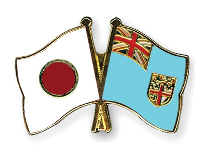 Crossed Flag Pins Japan-Fiji