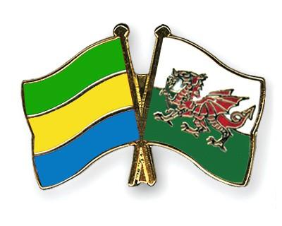 Crossed Flag Pins Gabon-Wales