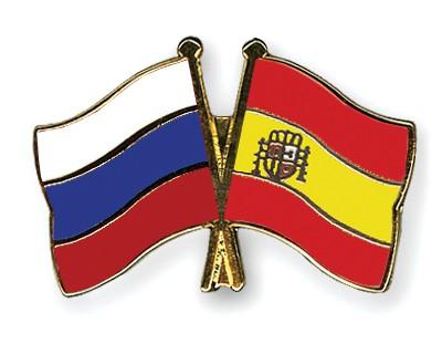 Crossed Flag Pins Russia-Spain