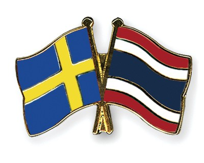 Crossed Flag Pins Sweden-Thailand