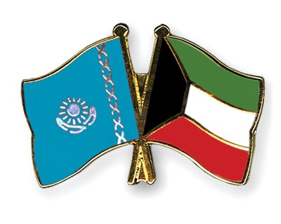 Crossed Flag Pins Kazakhstan-Kuwait