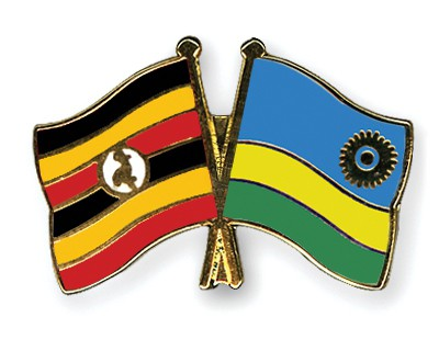 Crossed Flag Pins Uganda-Rwanda