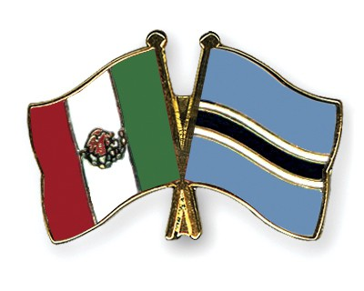 Crossed Flag Pins Mexico-Botswana