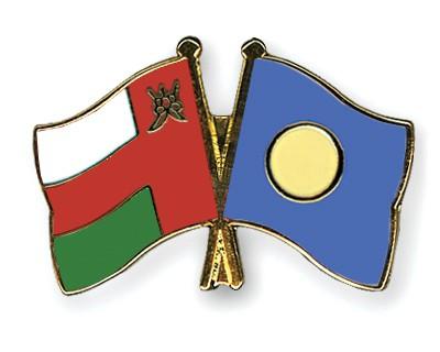 Crossed Flag Pins Oman-Palau