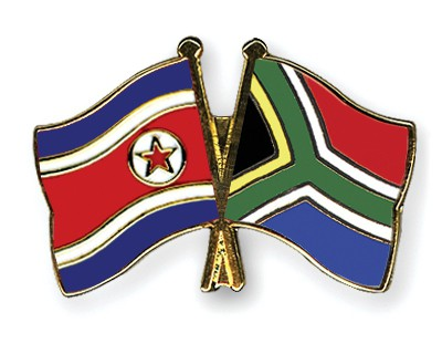 Crossed Flag Pins North-Korea-South-Africa