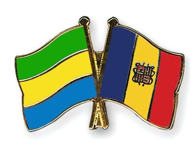 Crossed Flag Pins Gabon-Andorra