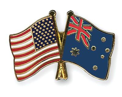 Crossed Flag Pins USA-Australia