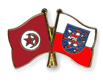 Crossed Flag Pins Tunisia-Thuringia