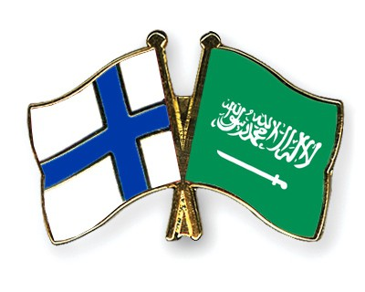Special Offer Crossed Flag Pins Finland-Saudi-Arabia