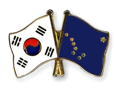 Crossed Flag Pins South-Korea-Alaska