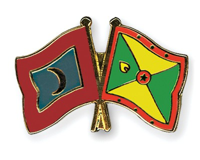 Crossed Flag Pins Maldives-Grenada
