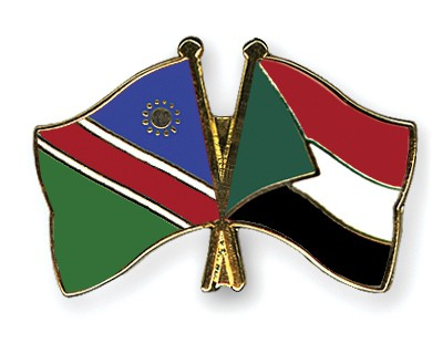 Crossed Flag Pins Namibia-Sudan