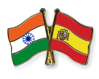 Crossed Flag Pins India-Spain