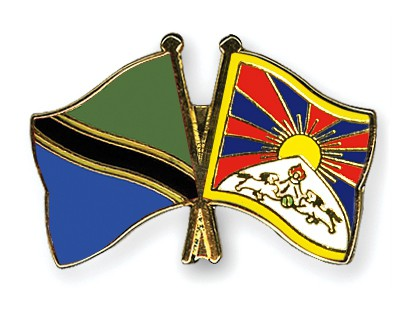 Crossed Flag Pins Tanzania-Tibet