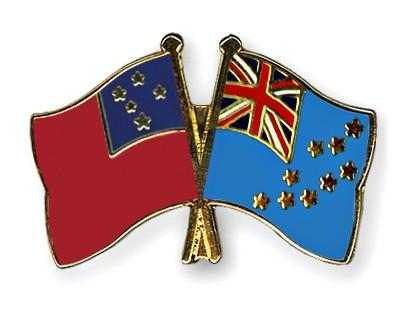 Crossed Flag Pins Samoa-Tuvalu