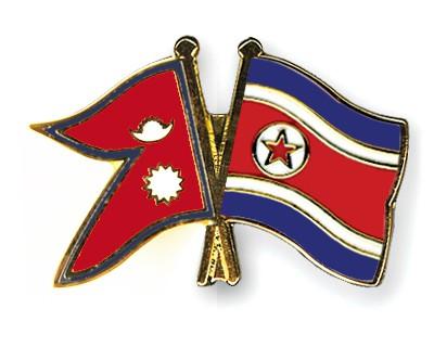Crossed Flag Pins Nepal-North-Korea