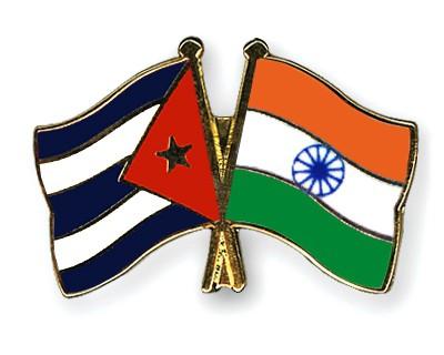 Crossed Flag Pins Cuba-India