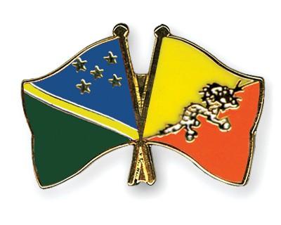 Crossed Flag Pins Solomon-Islands-Bhutan