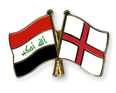 Crossed Flag Pins Iraq-England