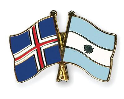 Crossed Flag Pins Iceland-Argentina