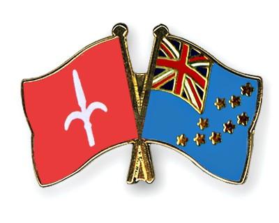 Crossed Flag Pins Trieste-Tuvalu