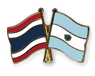 Crossed Flag Pins Thailand-Argentina