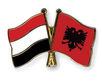 Crossed Flag Pins Yemen-Albania