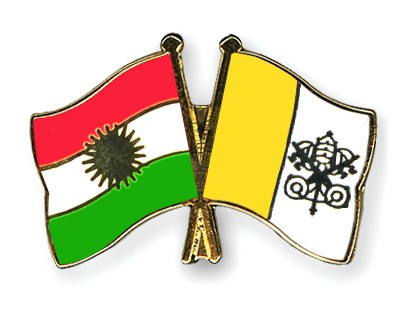Crossed Flag Pins Kurdistan-Vatican-City