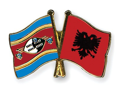 Crossed Flag Pins Swaziland-Albania