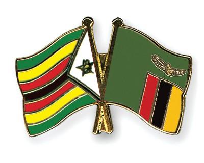 Crossed Flag Pins Zimbabwe-Zambia