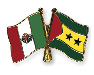 Crossed Flag Pins Mexico-Sao-Tome-and-Principe