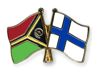 Crossed Flag Pins Vanuatu-Finland