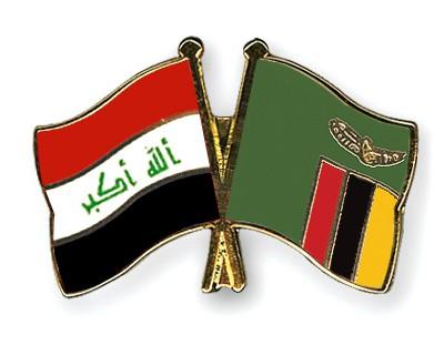 Crossed Flag Pins Iraq-Zambia