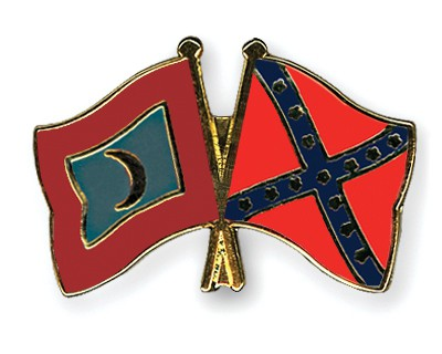 Crossed Flag Pins Maldives-Confederate-battle