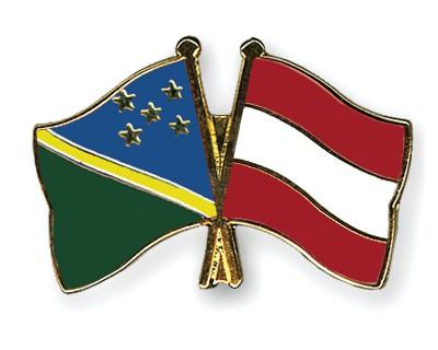 Crossed Flag Pins Solomon-Islands-Austria