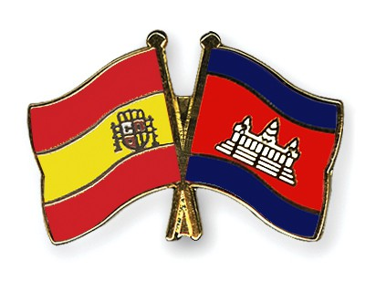 Crossed Flag Pins Spain-Cambodia