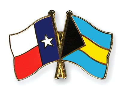 Crossed Flag Pins Texas-Bahamas