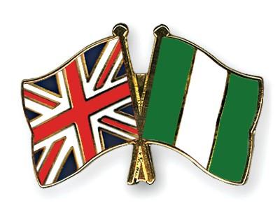 Crossed Flag Pins Great Britain-Nigeria