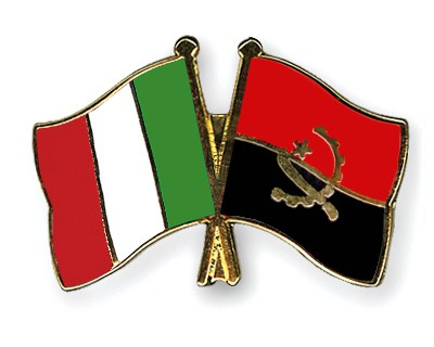 Crossed Flag Pins Italy-Angola