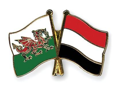 Crossed Flag Pins Wales-Yemen