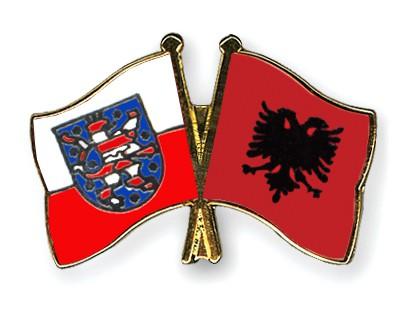 Crossed Flag Pins Thuringia-Albania