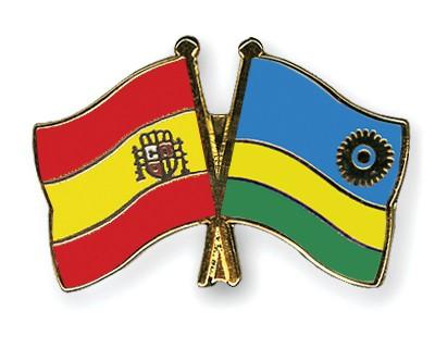 Crossed Flag Pins Spain-Rwanda