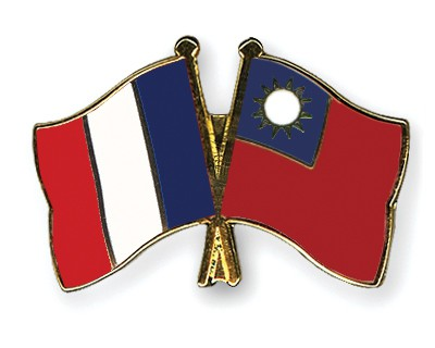 Special Offer Crossed Flag Pins France-Taiwan