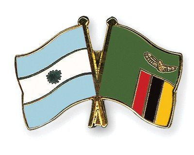 Crossed Flag Pins Argentina-Zambia