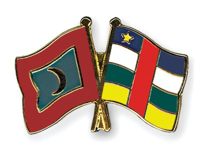 Crossed Flag Pins Maldives-Central-African-Republic