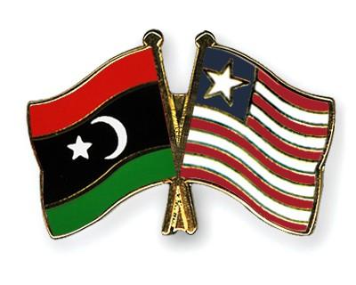Crossed Flag Pins Libya-Liberia