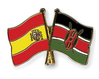 Crossed Flag Pins Spain-Kenya