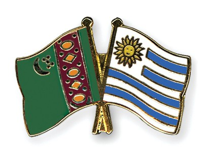Crossed Flag Pins Turkmenistan-Uruguay